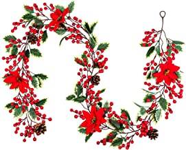 Mocoosy Red Berry Christmas Garland with Poinsettia Flowers and Pine Cone, Artificial Red Berries Wreath Vine Christmas Ga...