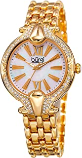 Women's Mother-of-Pearl Dial with Swarovski Crystal Accented Bezel on Stainless Steel Bracelet Watch - BUR163