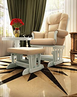 Naomi Home Deluxe Multiposition Sleigh Glider and Ottoman Set White/Cream