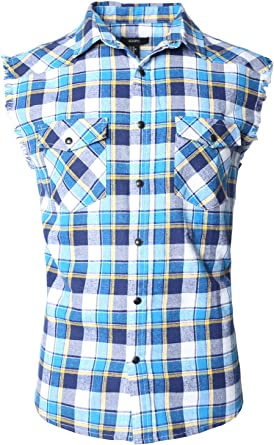 SOOPO Camisa Hombre a Cuadros Shirt sin Manga Estampado de Cuadros de Colores para Hombre, Camiseta Bonita y Cómoda para Verano, Diversos Colores y ...