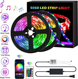 Led Strip Lights 32.8ft Music Sync Color Changing 5050 RGB Light Strips, Rope Lights with Remote, Waterproof led Lights App Controlled Strips Kit for Bedroom, Home Decoration, Kitchen, Party