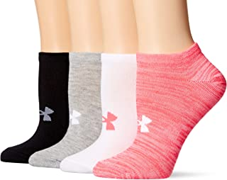 Under Armour Essential Calcetines Invisibles para Mujer, 4 Pares, Harmony Pink Assorted, Mediano