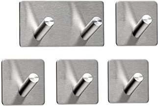 SEBSON® Handdoekhaken zonder Boren 5 Stuks (1x Dubbele Haak, 4x Enkele Haak), Zelfklevende Haken voor Badkamer en Keuken, ...