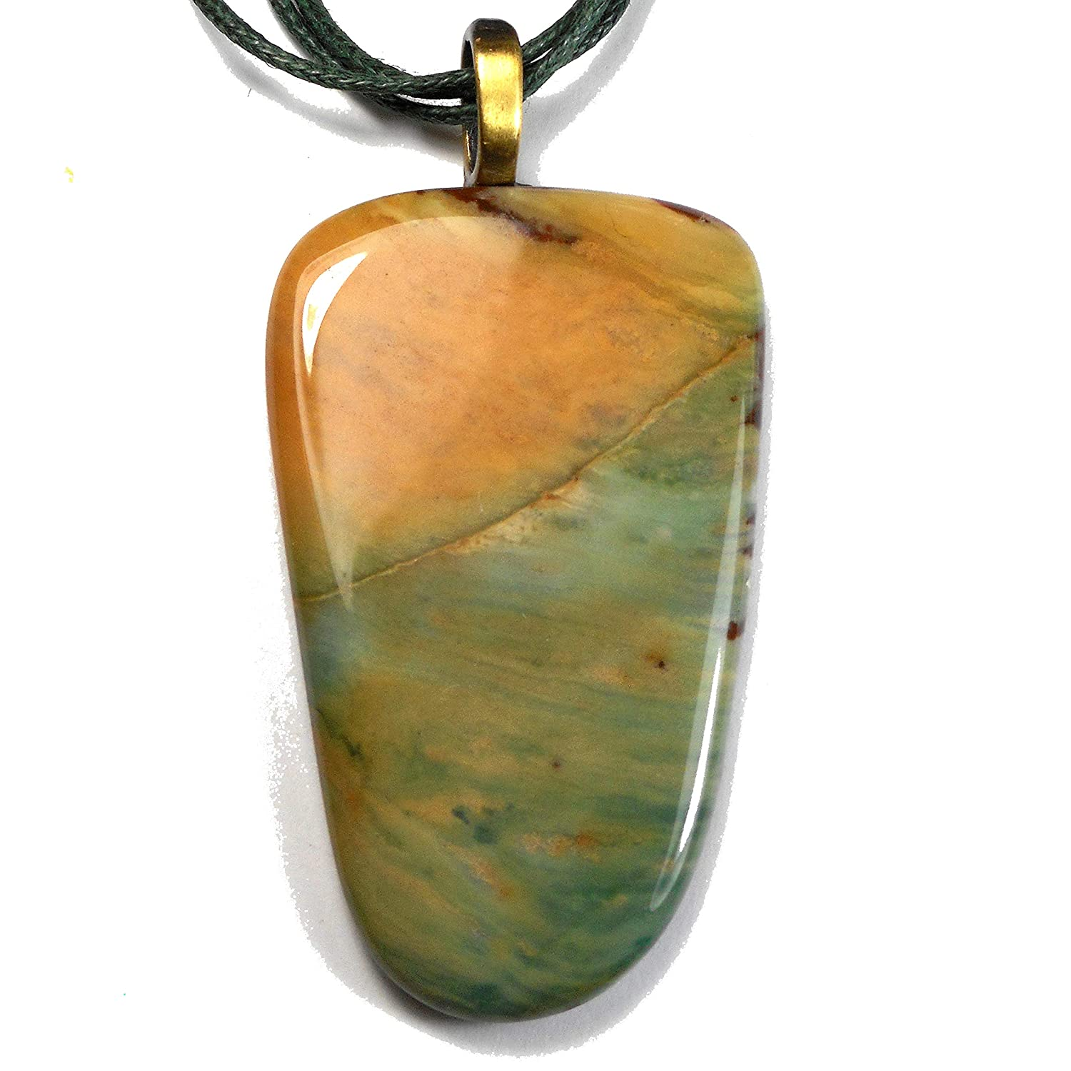 Pastel Green and Max 48% OFF Peach Picture Jasper One a Necklace of Chicago Mall Pendant