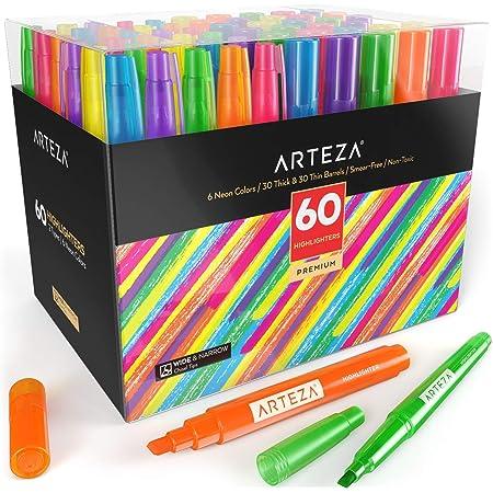 Arteza Surligneurs kit de 60, pack en gros, pointe fine et large de burin, 6 couleurs fluo variées, pour adultes et enfants