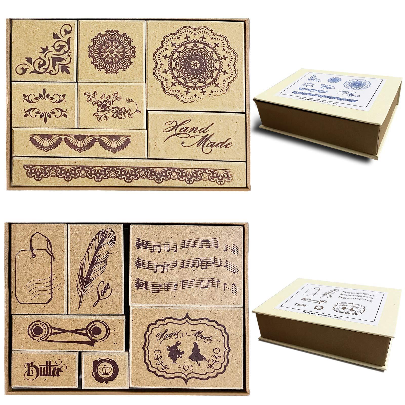 15 piezas de sello de goma de madera/hojas de sello para álbum de fotos decorativo, conjunto de sellos de bloc de notas de diario de bricolaje Patrones, 2 cajas, patrón