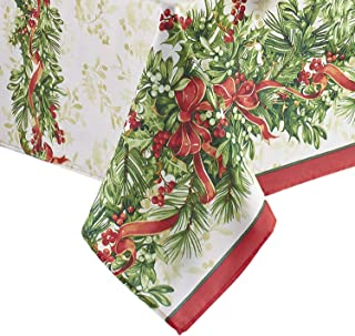 Newbridge Holly Ribbon Traditions Bordered Christmas Fabric Tablecloth, Boughs of Holly and Berry Ribbon Garland Print Easy Care, Stain Release Tablecloth, 52 Inch x 70 Inch Oblong/Rectangle