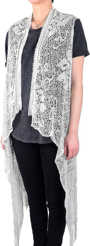 White Deer Women's Sleeveless Floral Lace Vest Cardigan Kimono Poncho Open Front Long Fringe
