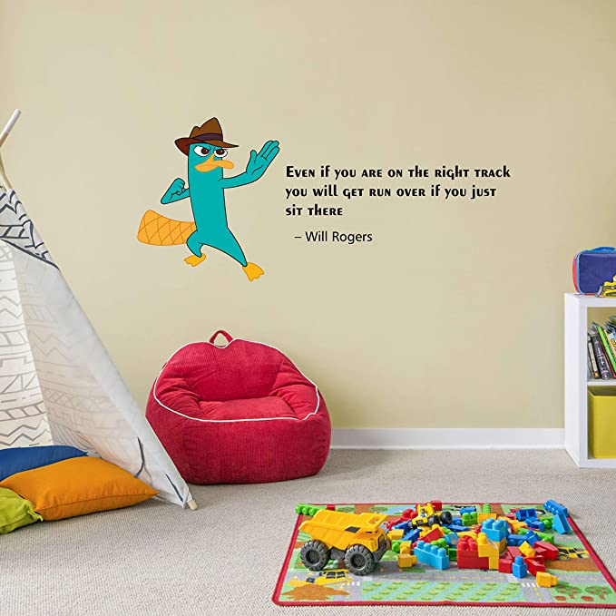Amazon Com Right Track Perry The Platypus Quote Cartoon Quotes Decors Wall Sticker Art Design Decal For Girls Boys Kids Room Bedroom Nursery Kindergarten Home Decor Sticker Wall Art Vinyl Decoration 12x20 Inch