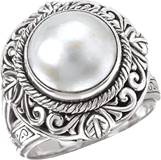 925 Silver & Mabe Cultured Pearl Intricate Scroll Ring- Sizes 6-8