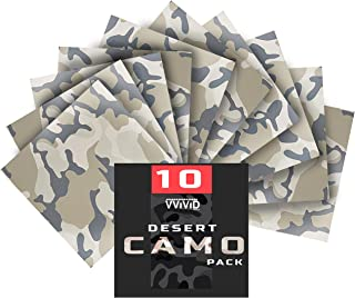 VViViD Camouflage Self-Adhesive Craft Vinyl 12 Inches x 12 Inches Sheet 10-Pack Bundle (Desert Camouflage)