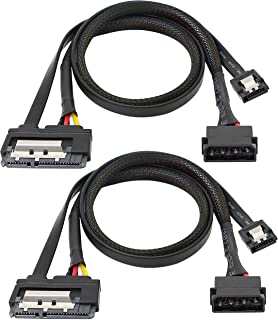 SATA 6G Data Cable, SATA Power 2-in-1 Extension Cord, LP4 IDE to SATA 15P Female with Serial ATA III 7 Pin Female for HDD,...