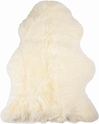 Natural Luxury Soft Premium Quality Durable Thick & Lush New Zealand Sheepskin Wool Fur Area Rug, 2 ft x 3 ft, Natural