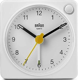براون كلاسيك ساعة منبه انالوج بعقارب مع غفوة وخفيفة، حجم مضغوط، حركة كوارتز هادئة، منبه كريسيندو باللون الأبيض، موديل BC02XW