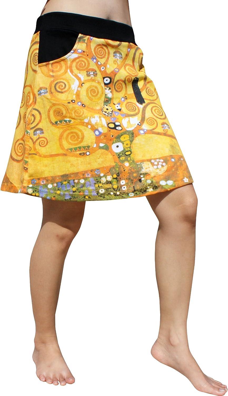 RaanPahMuang Short Skirt Two Pocket Gustav Klimt Tree of Life Stoclet Frieze