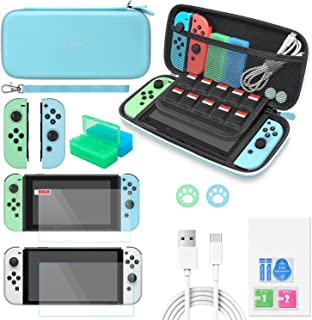 Switch & OLED Model Accessories Bundle for Animal Crossing MENEEA 13 in 1 Accessories kit with Carrying Case, Screen Prote...