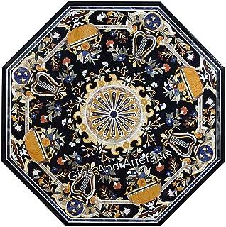 Gifts And Artefacts Table de salle à manger en marbre Motif floral Noir 60 cm