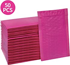 HBlife #000 4x8 Inches Poly Bubble Mailers Self Seal Hot Pink Padded Envelopes, Pack of 50