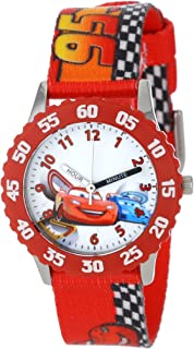 Disney Kids' W001035 Time Teacher Cars Stainless Steel Watch With Printed Nylon Band