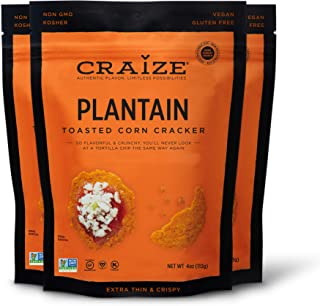 Craize Thin & Crunchy Toasted Corn Crackers – Sweet Plantain Flavored Healthy & Organic Gluten Free Crackers - 3 Pack, 4 O...