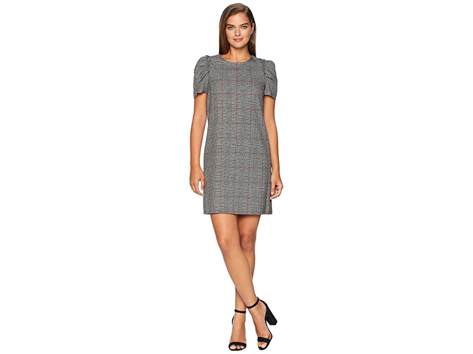 CeCe Puffed Sleeve Menswear Plaid Dress (Rich Black) Women