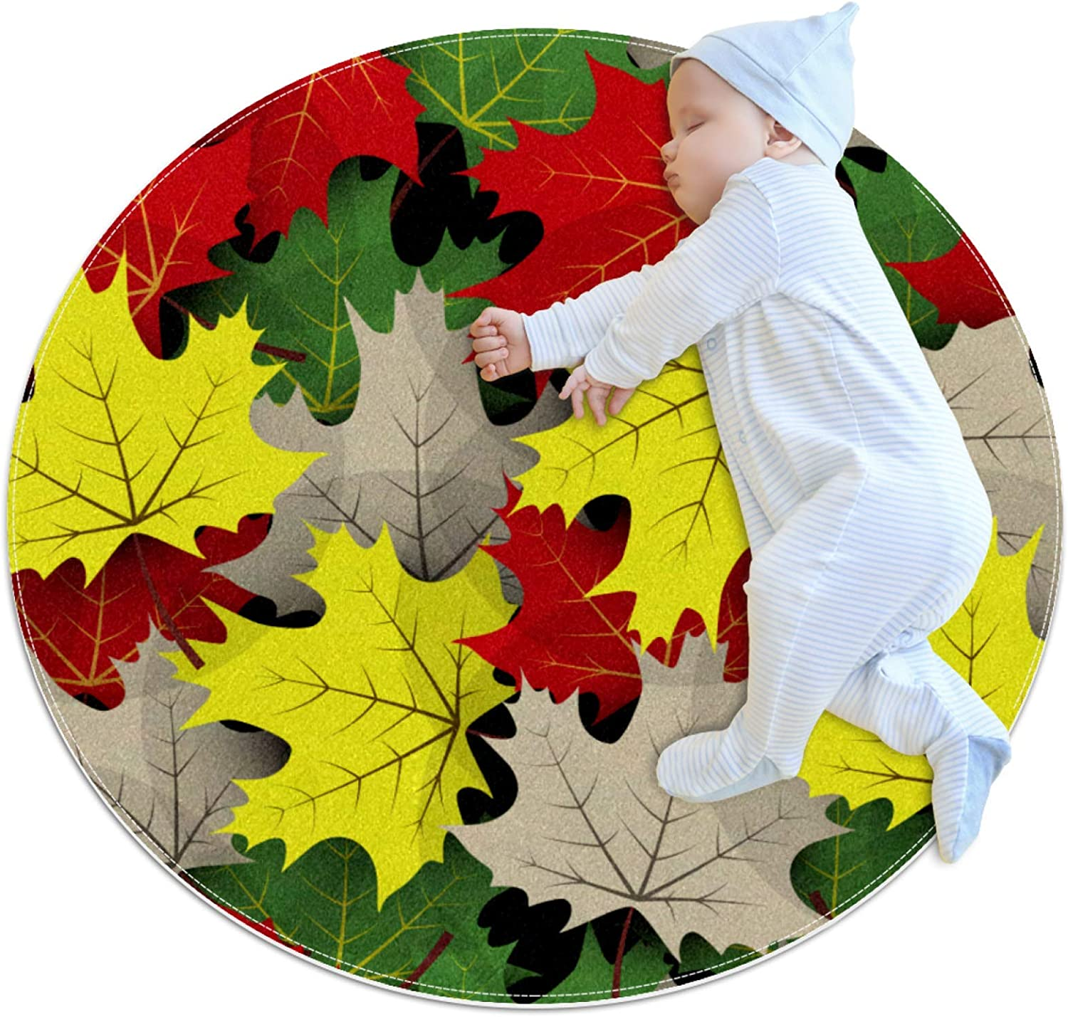Pet Choice Round Mat Maple Autumn Colorful Leaves Feeding D for Financial sales sale