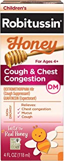 Children's Robitussin Honey Cough + Chest Congestion DM, Non-Drowsy Cough Suppressant & Expectorant, Real Honey, 4 fl. oz. Bottle, Ages 4+