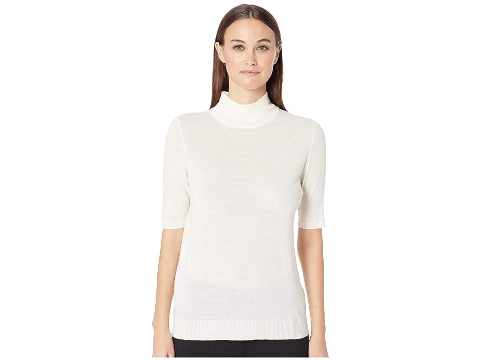Eileen Fisher Fine Merino Jersey Mock Neck Elbow Sleeve Top (Soft White) Women