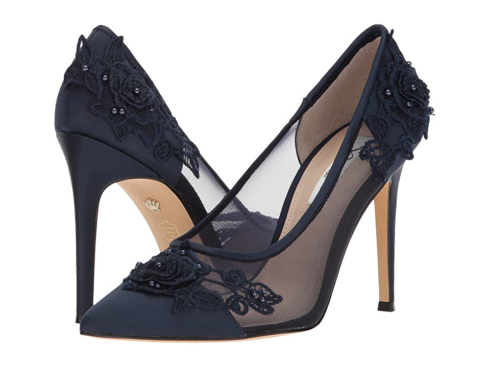 Nina Donela (New Navy Luster Satin/Rose Applique/Mesh) High Heels