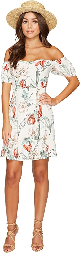 ASTR the Label - Printed Floral Off Shoulder Dress