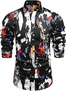 COOFANDY Men's Long Sleeve Luxury Printed Dress Shirt Silk Satin Button Down Shirts