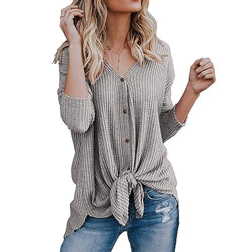 e5ed05b3c33 PCEAIIH Womens Waffle Knit Tunic Blouse Tie Knot Henley Tops Loose Fitting  Bat Wing Plain Shirts