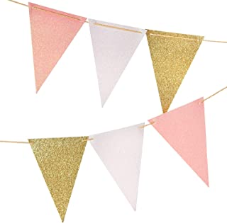 10 Feet Vintage Style Pennant Banner, Gold Glitter Garland, Paper Triangle Flags Bunting for Nursery Wall, Wedding, Baby Shower, Party Decor,15 pcs Flags(Gold Glitter+White Glitter+Baby Pink Glitter)
