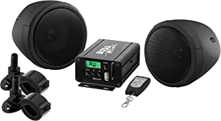 BOSS Audio MCBK520B Motorcycle Speaker and Amplifier Sound System - Bluetooth, Weatherproof, 3 Inch Speakers, 2 Channel Amplifier, FM Tuner, USB/SD Ports, Aux-In