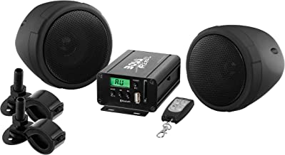 BOSS Audio MCBK520B Motorcycle Speaker and Amplifier Sound System - Bluetooth, Weatherproof, 3 Inch Speakers, 2 Channel Amplifier, FM Tuner, USB-SD Ports, Aux-In