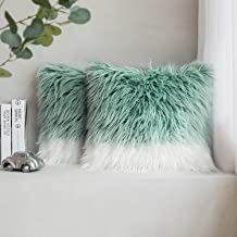 Phantoscope Pack of 2 Luxury Series Throw Pillow Covers Faux Fur Mongolian Style Plush Cushion Case for Couch Bed and Chair, Blue and White 18 x 18 inches 45 x 45 cm