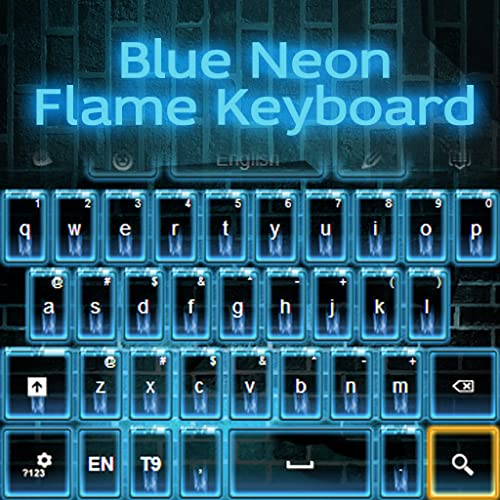 Blaue Neon Flamme Keyboard