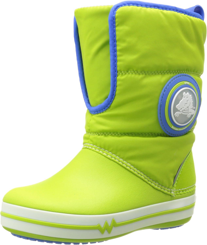Crocs Croclights Gust Boot 15811 (Toddler Little Kid),Volt Green Varsity bluee,8 M US Toddler