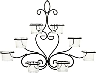 Hosley Scrolled Wall Angel Art Sconce 13.6 Inch Length 8 Votive LED Tealight Cup Holder Includes Glass Cups Mid Century Modern Wall Decor Ideal Gift for Weddings Party Spa Home O8