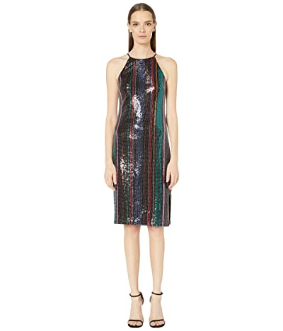 Badgley Mischka Racerback Sequin Stripe Cocktail (Black Multi) Women
