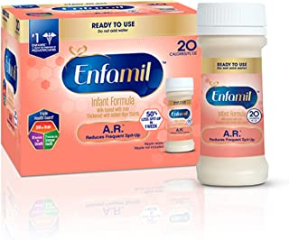 Enfamil A.R. Ready to Feed Infant Formula - Clinically Proven to Reduce Spit-Up in 1 week - 2 fl. oz. Nursette Bottles (48 count) Omega 3 DHA & Iron, Thickened with Rice Starch (Package May Vary)