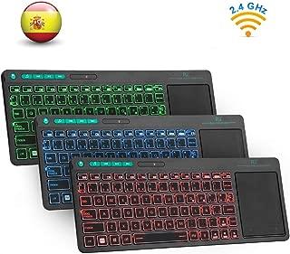 Rii K18 Plus -Teclado inalámbrico touchpad con 3 Colores LED, batería Recargable de Ion de Litio, QWERTY español, Color Negro
