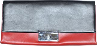 Women's Italian Leather Clutch Bag (One size, Black/Red)