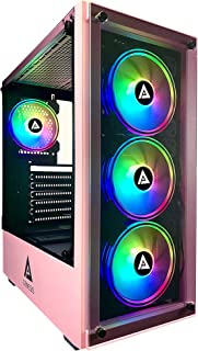 Apevia Genesis-PK Mid Tower Gaming Case with 2 x Tempered Glass Panel, Top USB3.0/USB2.0/Audio Ports, 4 x RGB Fans, Pink F...