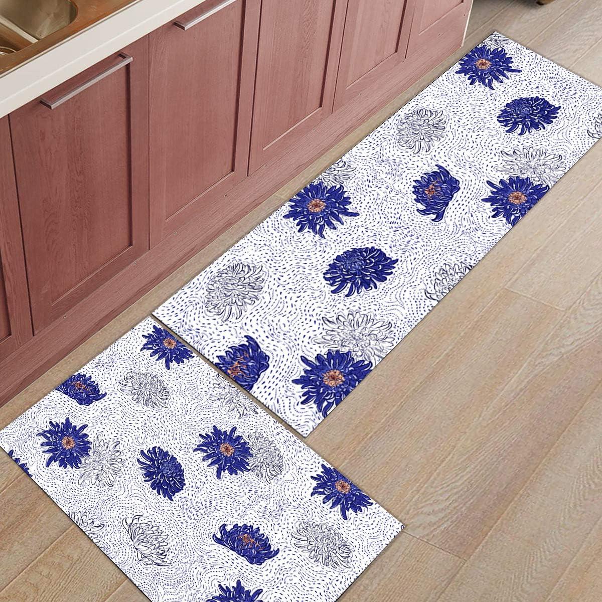 Chrysanthemum Hand Painted Runner Rug 5 popular Slip with shopping Rugs Non Floor