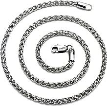 AmyRT Jewelry 4mm Titanium Steel Wheat Silver Chain Necklaces Men & Women 16