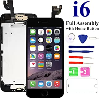 Nroech LCD Screen Replacement for i6 (Black) with Home Button, Full Assembly with Front Camera, Ear Speaker and Light/Proximity Sensor, Repair Tools and Free Screen Protector Included.