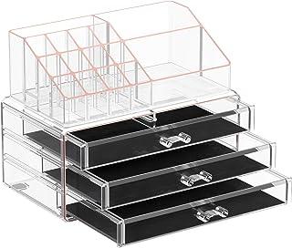 SONGMICS Make-up-organisator, kosmetikaorganisator med 3 lådor och 15 fack i olika storlekar, transparent roséguld JKA002T01