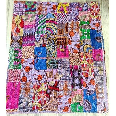 Orange fruit Hand Stitched Fruit Print Patchwork Vintage Kantha Quilt Handmade Bedspread Queen Size Kantha Throw Floral les Cotton Blanket