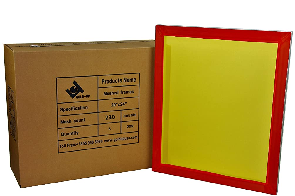 20 x 24 Inch Pre-Stretched Aluminum Silk Screen Printing Frames with 230 Yellow Mesh (6 Pack Screens)
